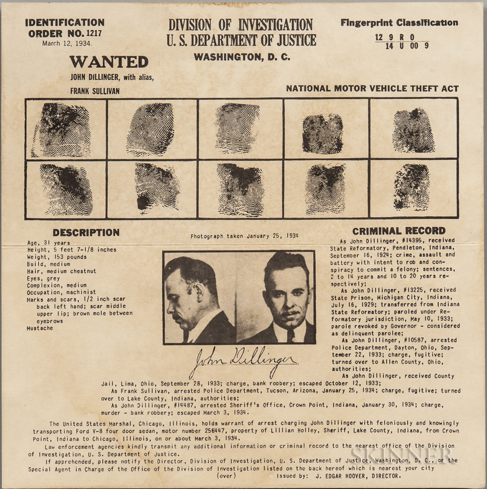 Dillinger, John (1903-1934) Wanted Poster, Division of Investigation, U.S. Department of Justice, March 12, 1934.