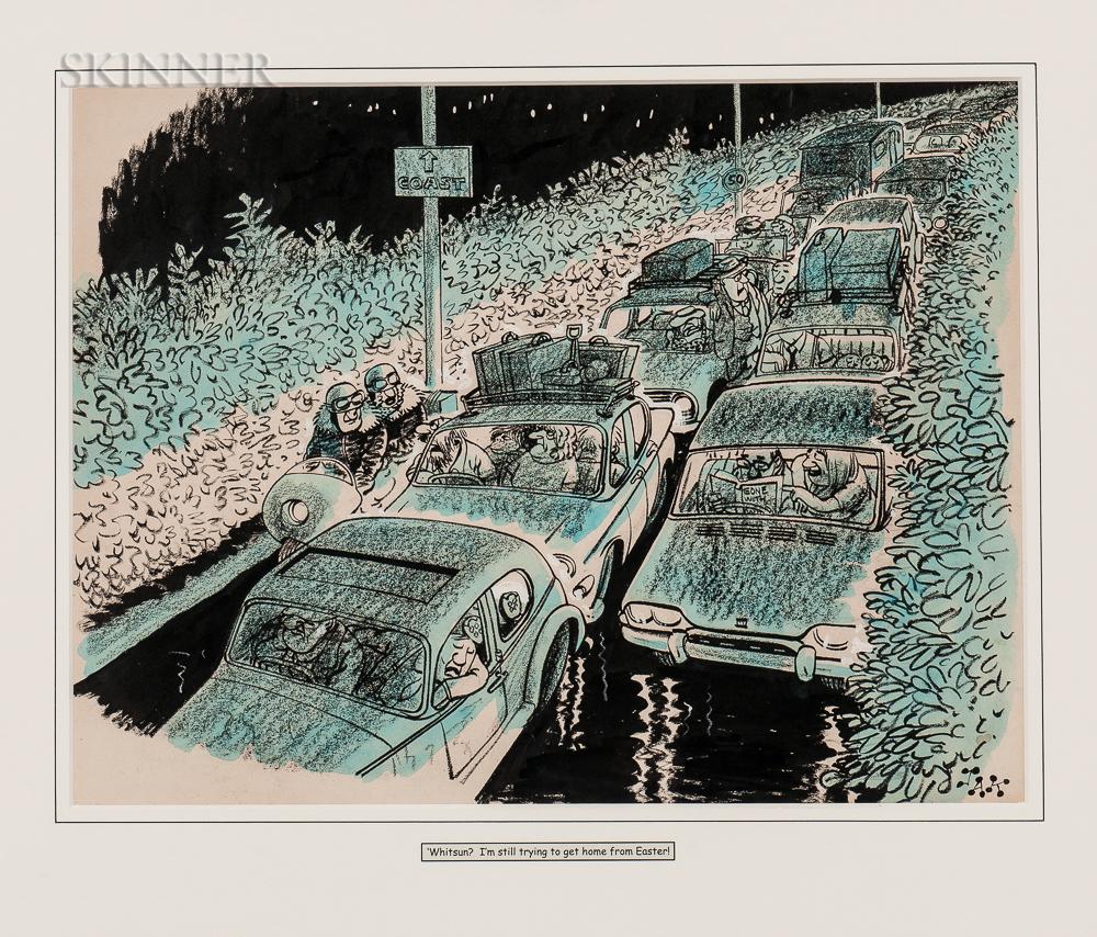 Raymond Allen Jackson (JAK) (British, 1927-1997)      Whitsun?...  /A Cartoon for The Highway Times