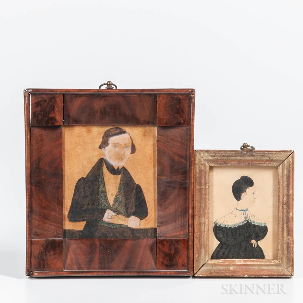Two Watercolor Miniature Portraits