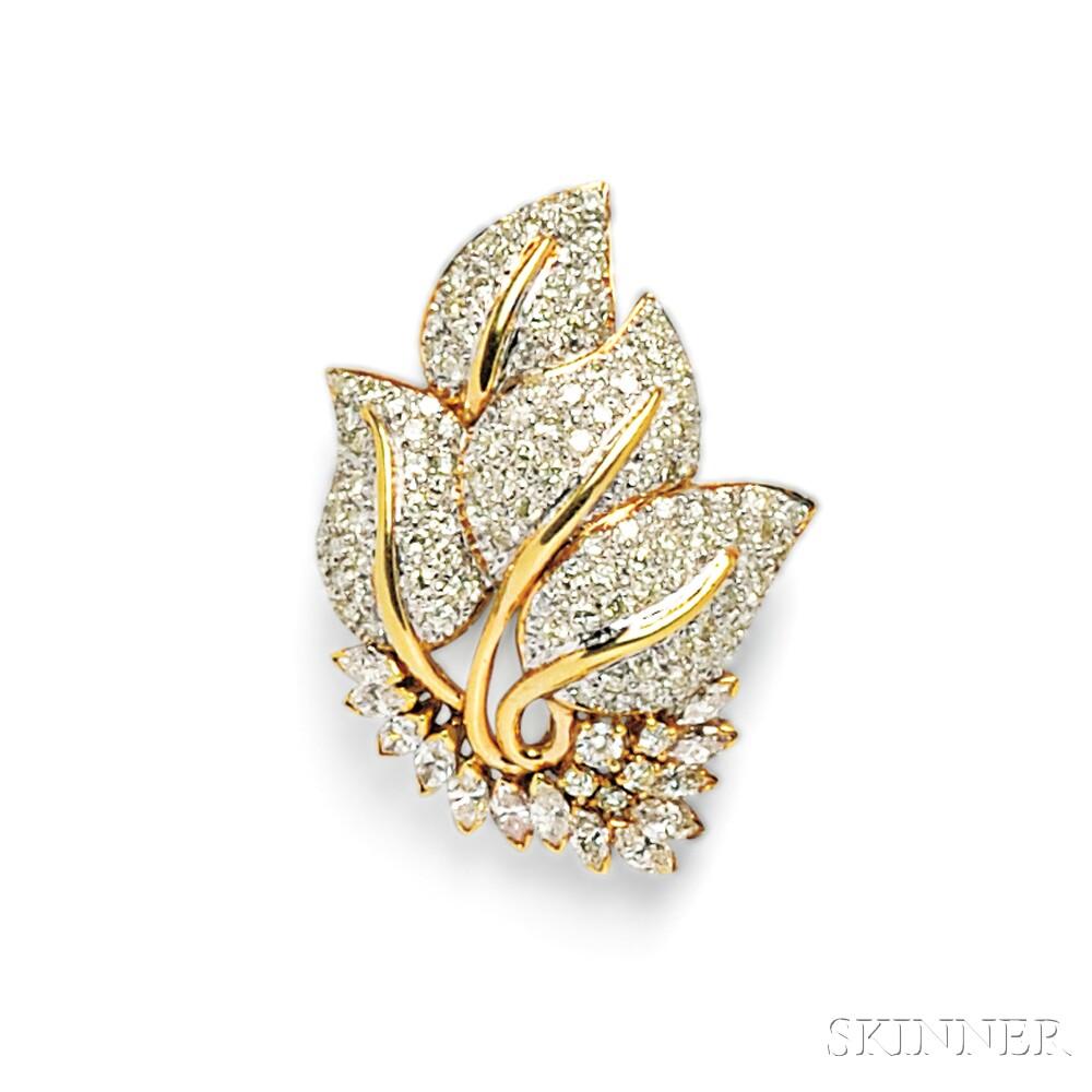 18kt Gold and Diamond Leaf Brooch