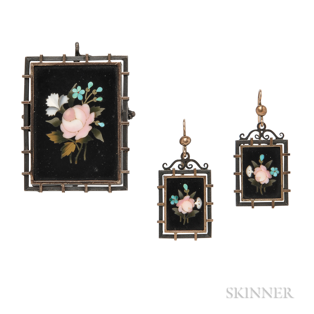 Antique Silver and Pietra Dura Brooch and Earrings