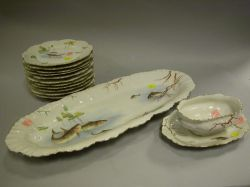 Fourteen-Piece Limoges Porcelain Transfer Decorated Fish Set.