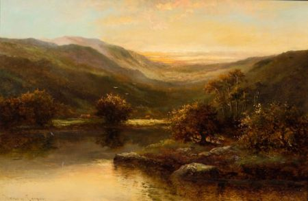 Henry Cooper (British, 19th Century)    Sunrise Over a Mountain Pasture