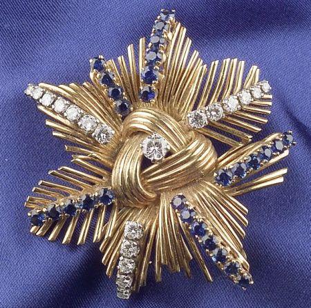 18kt Gold, Sapphire and Diamond Flower Brooch, Raymond Yard