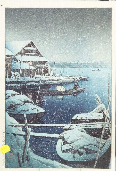 Hasui: Snow at Mukojima
