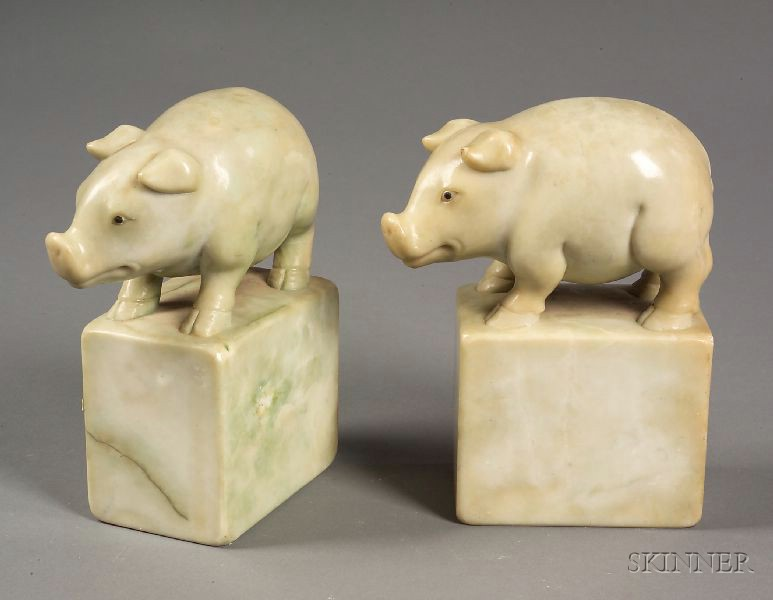 Pair of Chinese Export Pig-form Soapstone Bookends