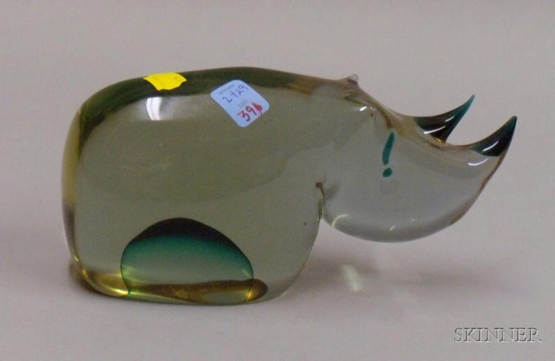 Murano Glass Figure of a Rhinoceros