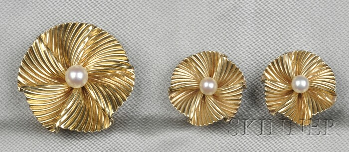 14kt Gold and Cultured Pearl Brooch and Earclips