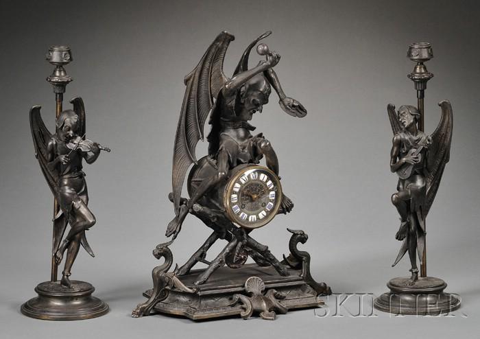 Renaissance Revival Black Patinated Spelter Three Piece Clock Garniture