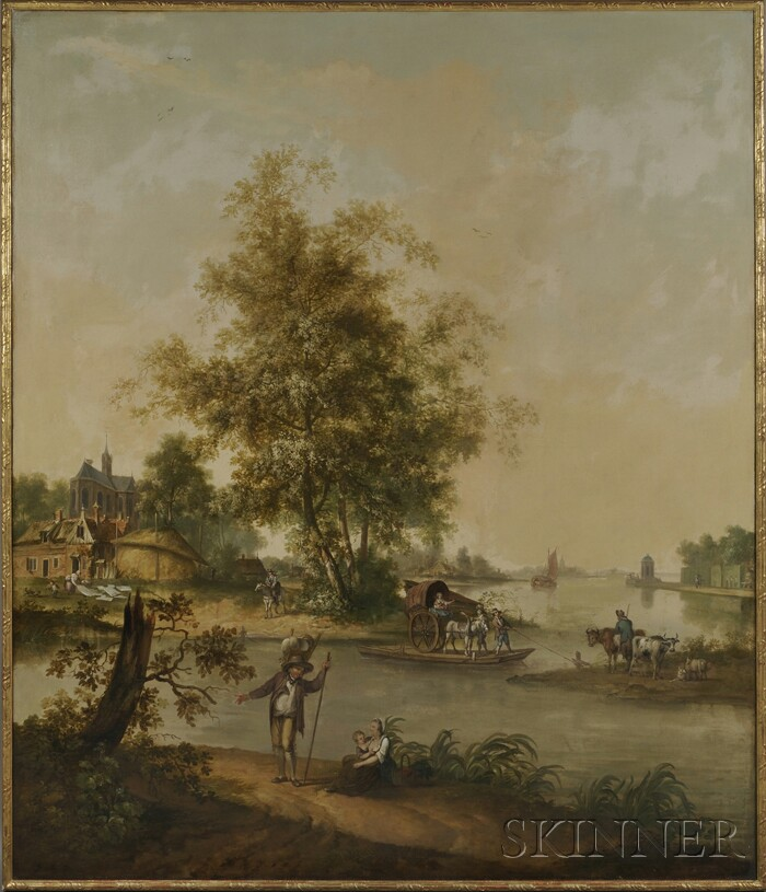 Continental School, 19th Century      Grand View of a Village River Crossing