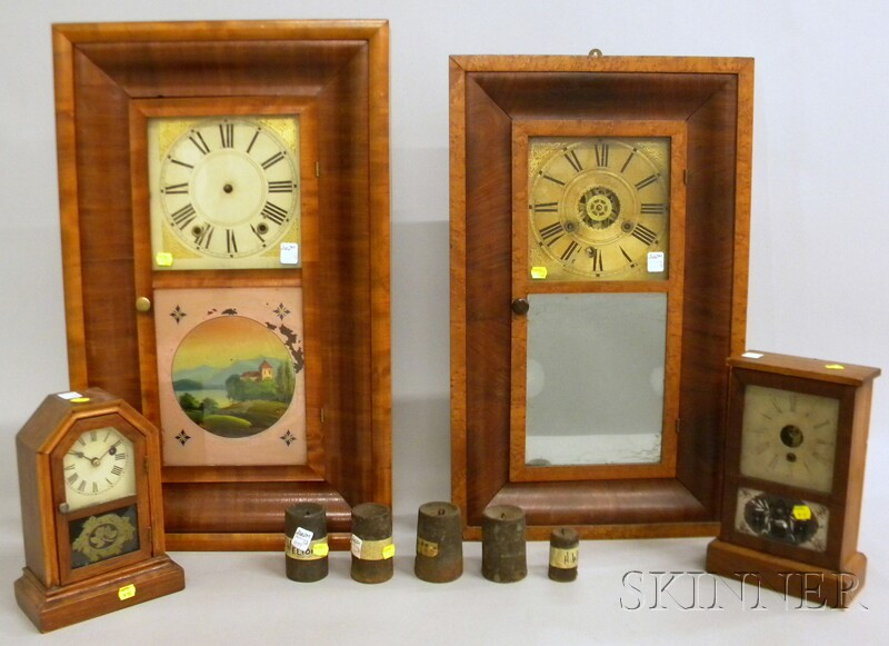 Two Thirty-hour Mahogany Ogee Clocks and Two Cottage Clocks