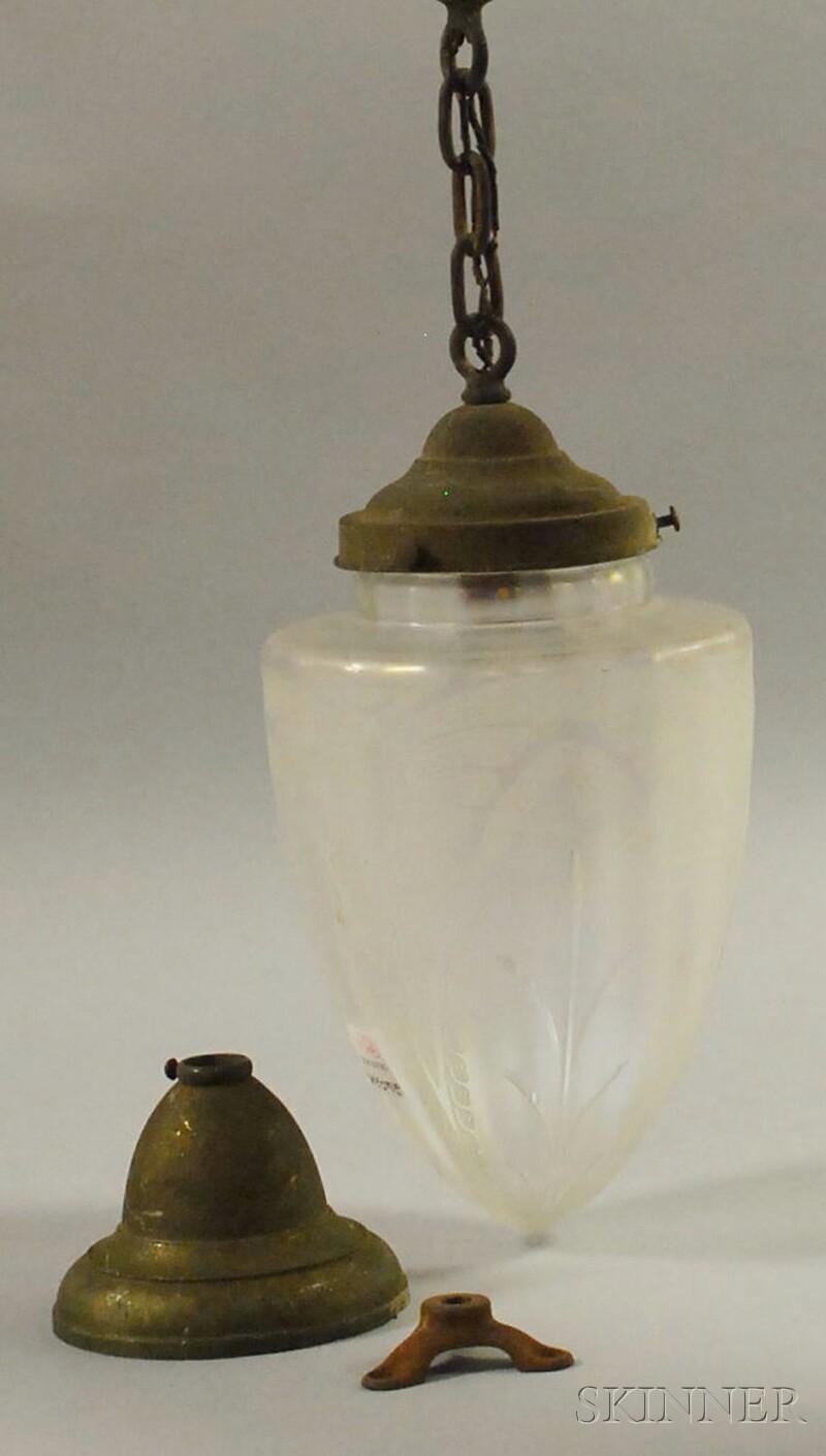 Art Deco Etched Verre de Soie Art Glass Pendant Hanging Hall Lamp