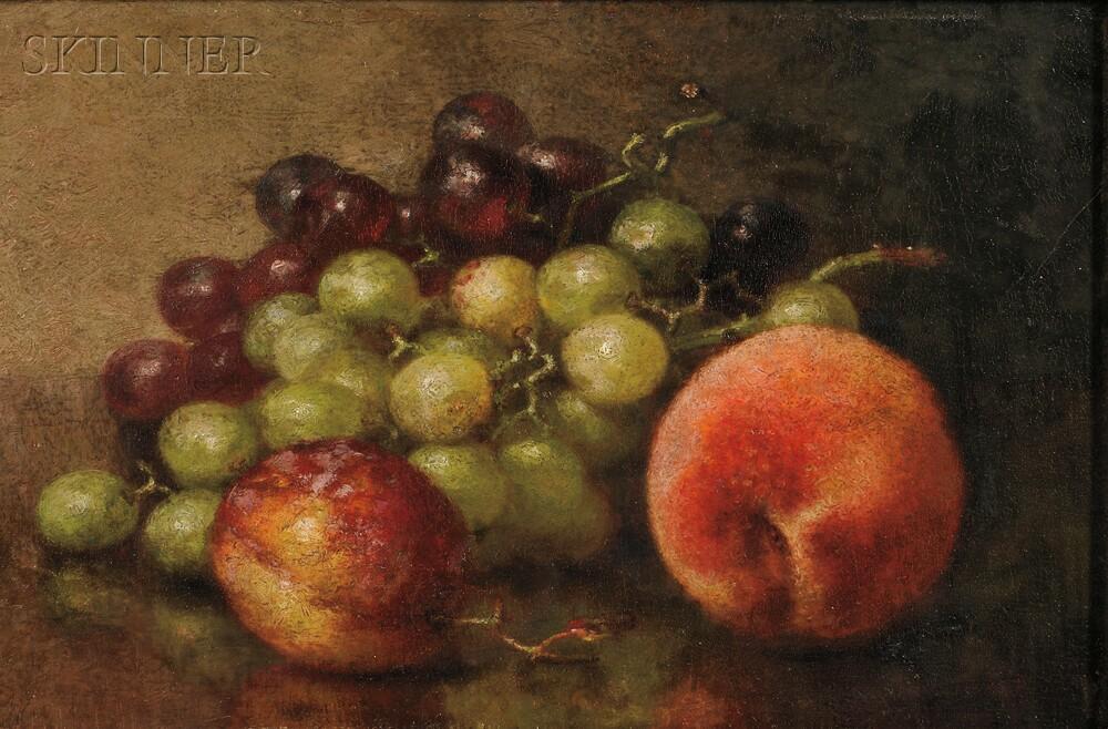 Robert Spear Dunning (American, 1829-1905) Still Life with a Peach, Plum...