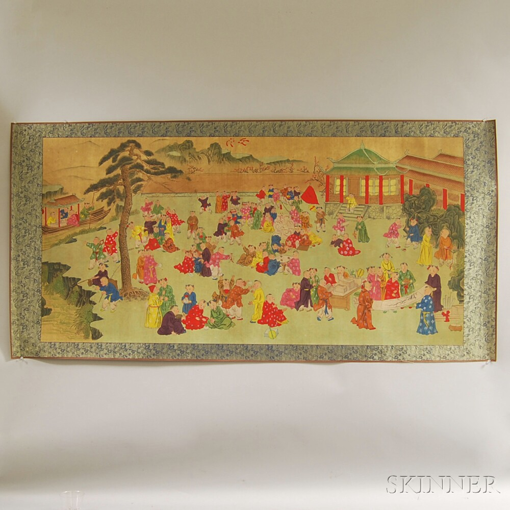 Japanese Scroll Depicting Children Playing in a Square.     Estimate $150-250