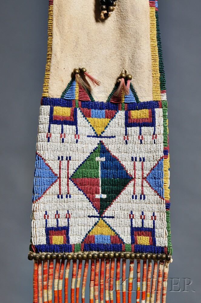 Cheyenne beaded and quilled hide pipe bag sale number for Cheyenne tribe arts and crafts
