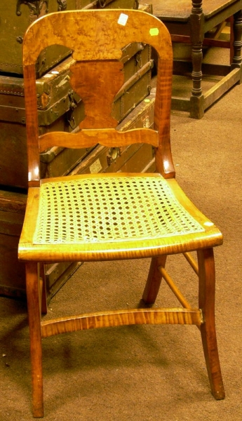 Birds-eye Maple Veneer Side Chair with Caned Seat.