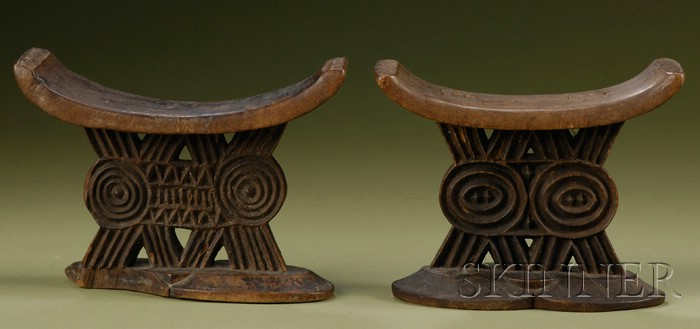 Two African Carved Wood Neck Rests