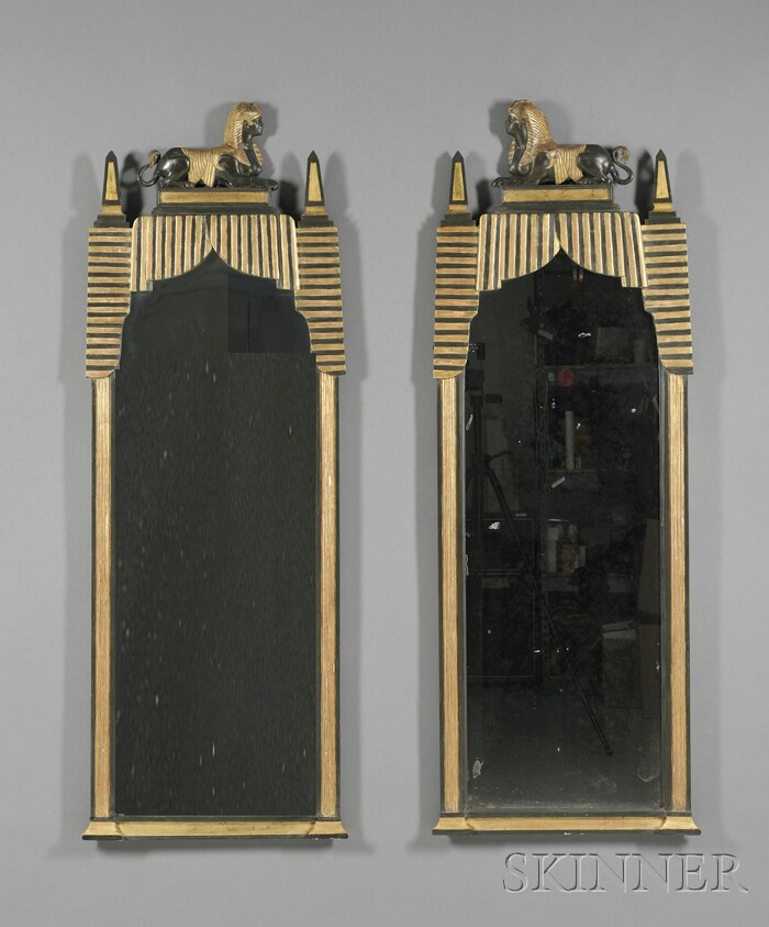 Pair of Empire Egyptian-style Parcel-gilt and Ebonized Pier Mirrors