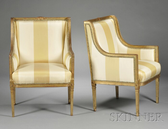 Pair of Louis XVI-style Giltwood Bergere a la Reine