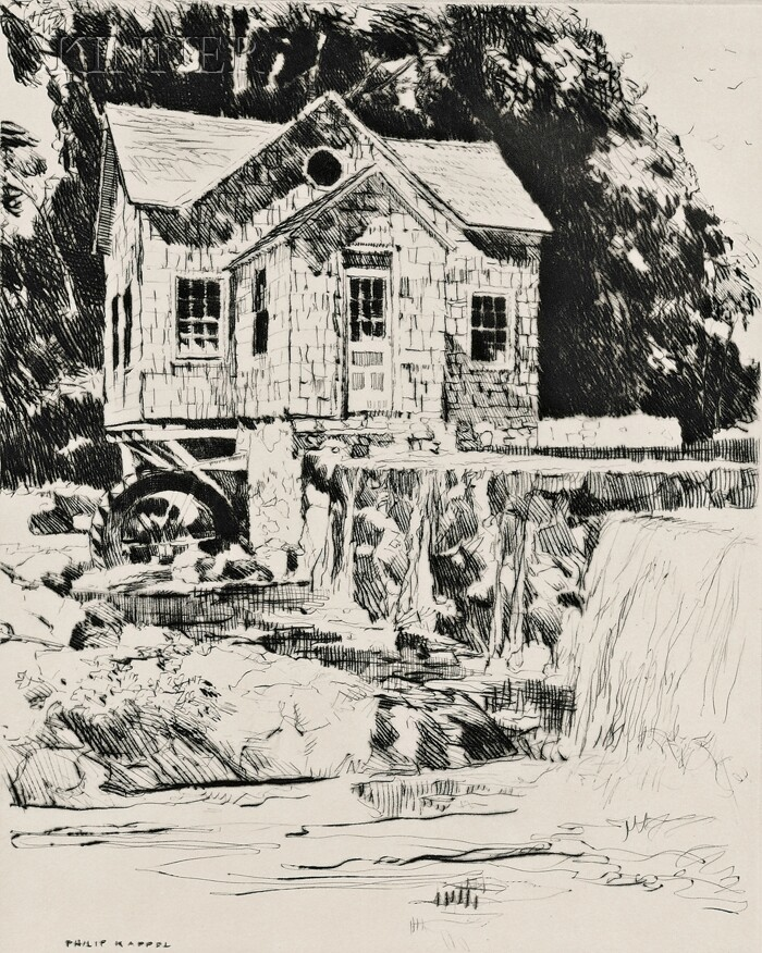 """Philip Kappel (American, 1901-1981)      The Mill at the Falls.  Signed """"Philip Kappel"""" in pencil l.r. and within the plate."""