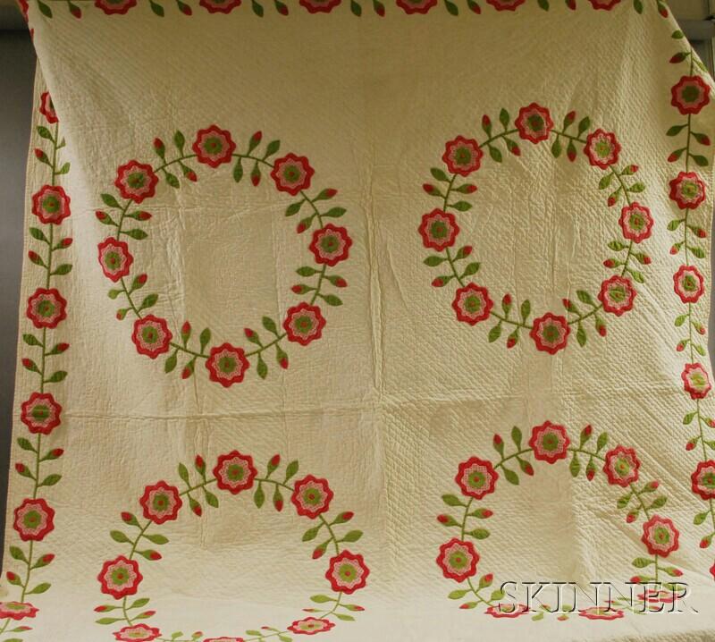 Hand-stitched Cotton Floral Chain Applique Pattern Quilt