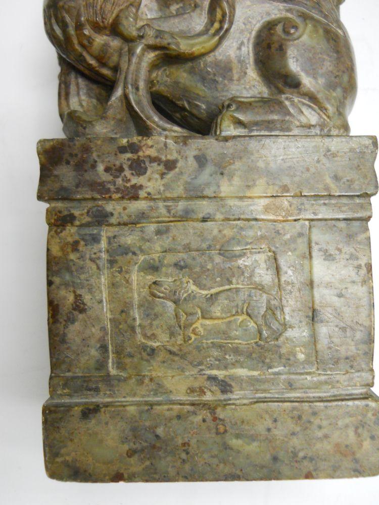 Pair of Soapstone Carvings of Foo Lions