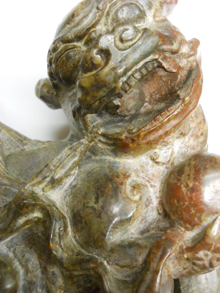 Pair of Soapstone Carvings of Foo Lions