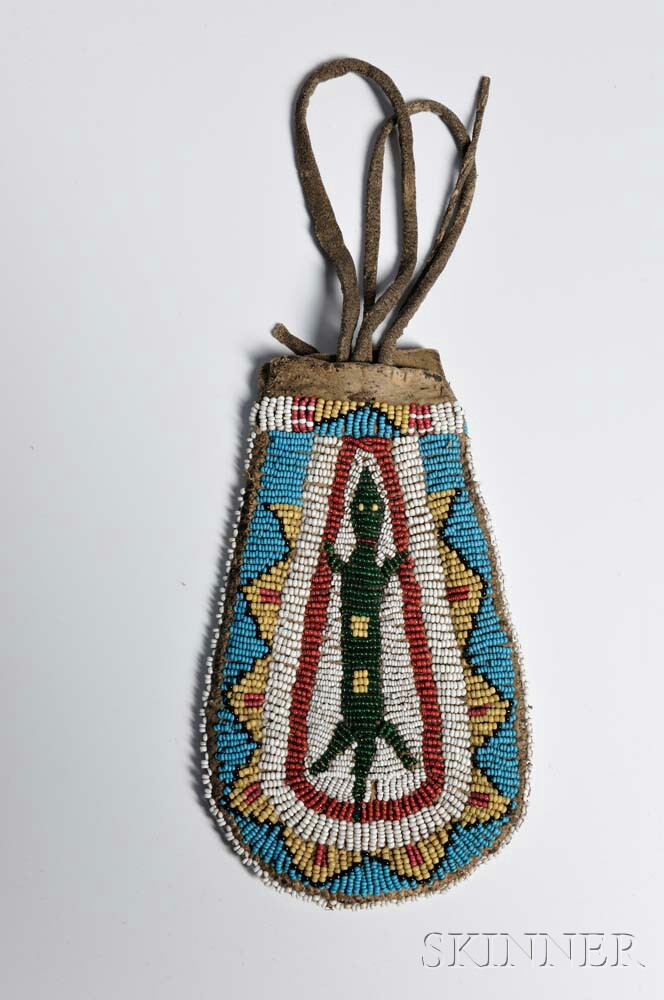 Plains Beaded Hide Pictorial Bag