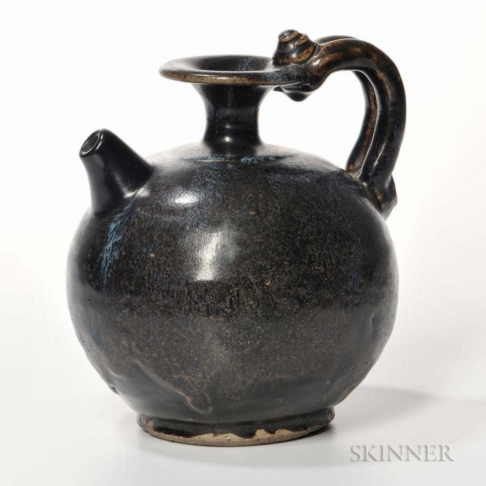 Black-glazed Blue-splashed Stoneware Ewer