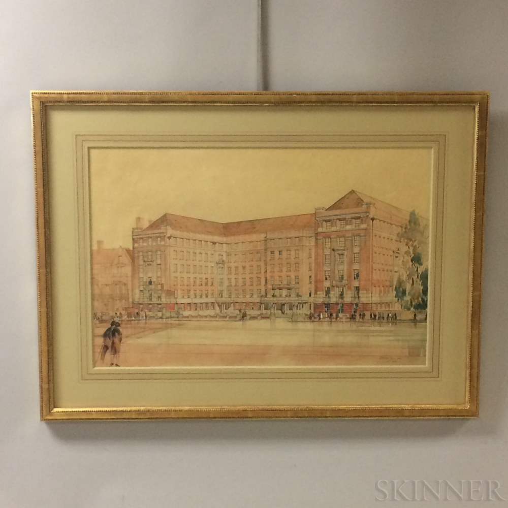Framed D.E. Harrington Watercolor, Pencil, and Gouache Architectural Drawing