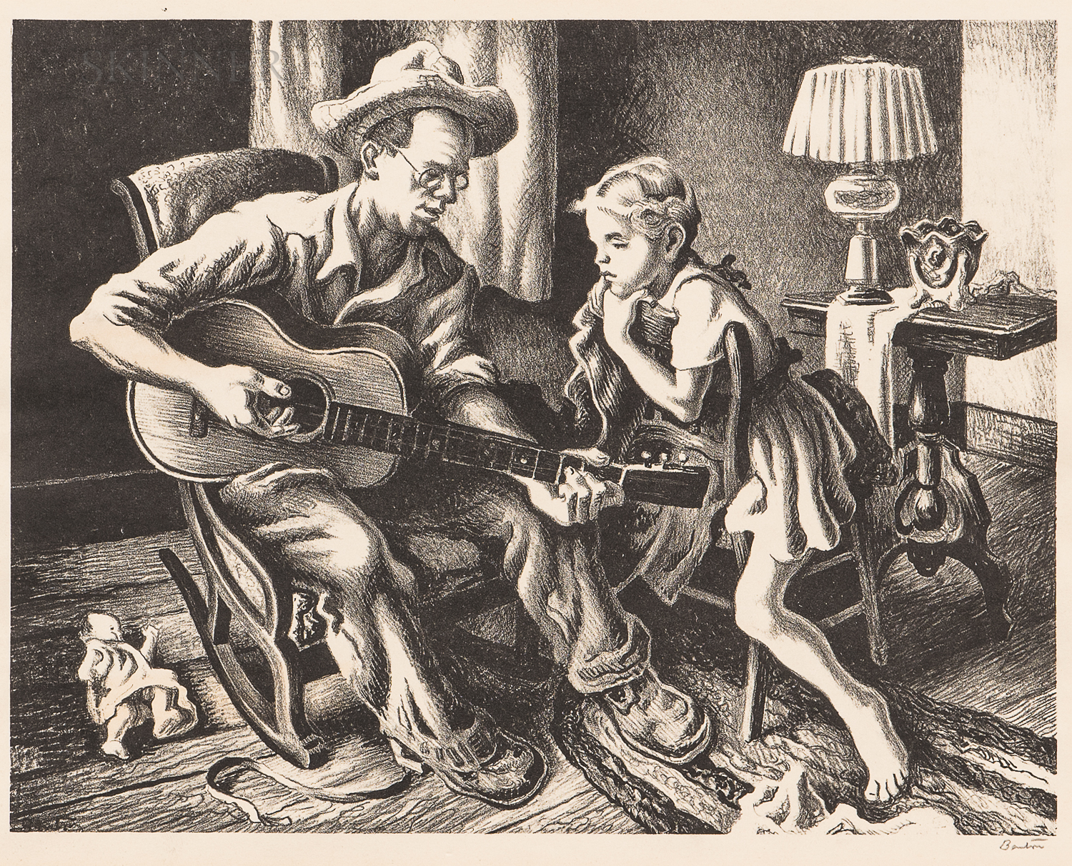 Thomas Hart Benton (American, 1889-1975)      The Music Lesson