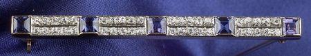 Edwardian Sapphire and Diamond Bar Pin, A.J. Hedges