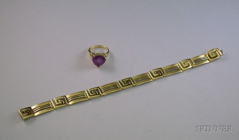 S.A. Kitsinian 14kt Gold Bracelet and a 10kt Gold and Amethyst Ring.