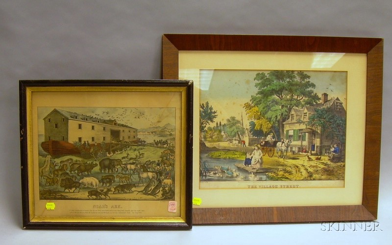 Framed N. Currier and a Framed Currier & Ives Hand-colored Lithographs