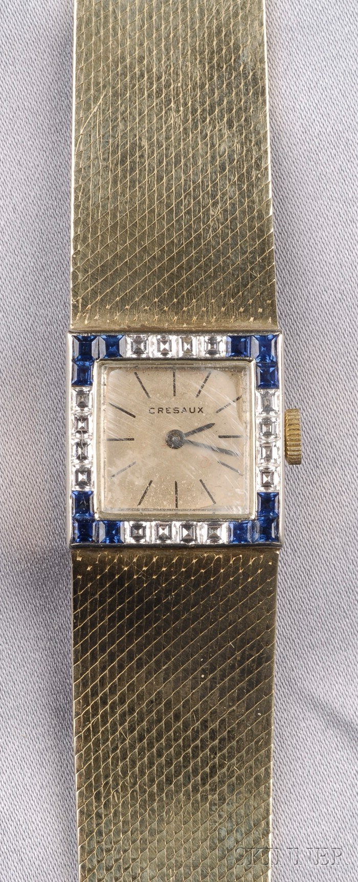 14kt Gold Gem-set Wristwatch, Cresaux