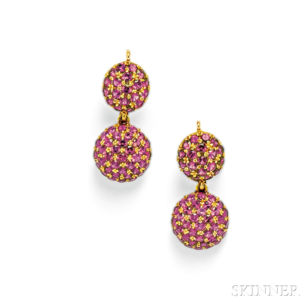 18kt Gold and Ruby Earpendants