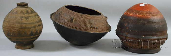 Three African Clay Vessels.