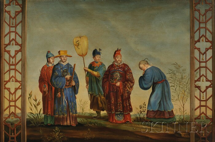 British School, 19th Century      A Group of Distinguished Chinese Gentlemen in Elaborate Robes