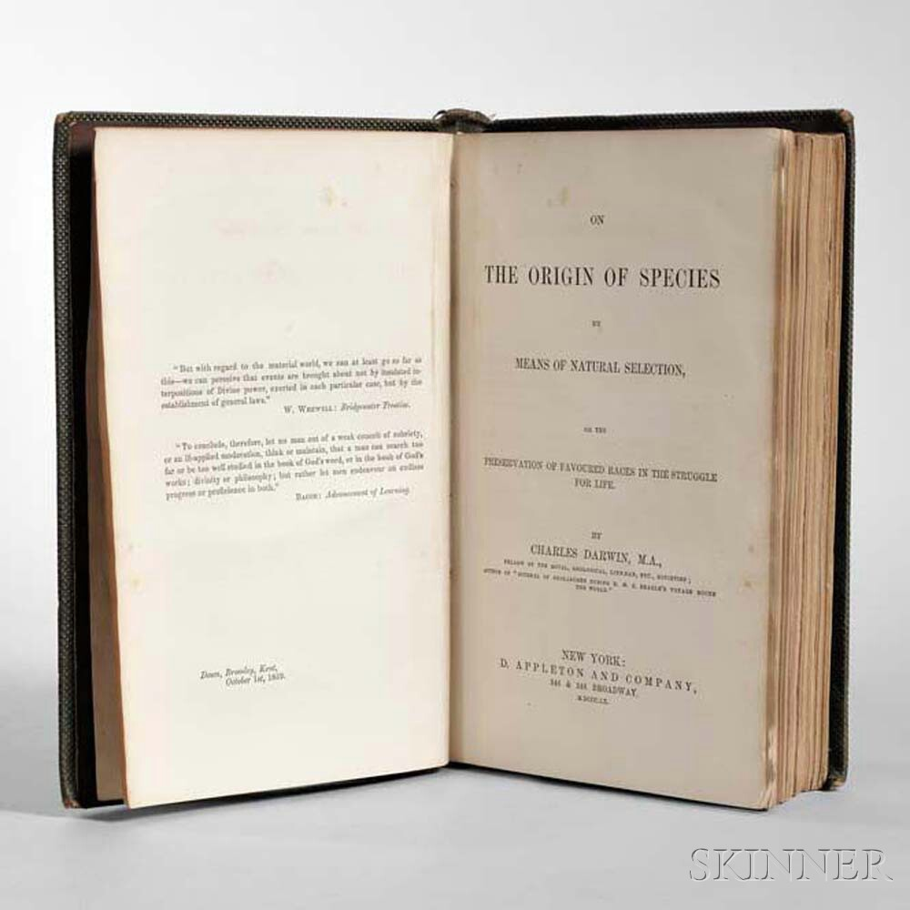 Darwin, Charles (1809-1882) On the Origin of Species  , First American Edition.