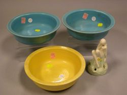 Fulper Pottery Figural Flower Frog and Three Fiesta Turquoise and Yellow Serving Bowls,