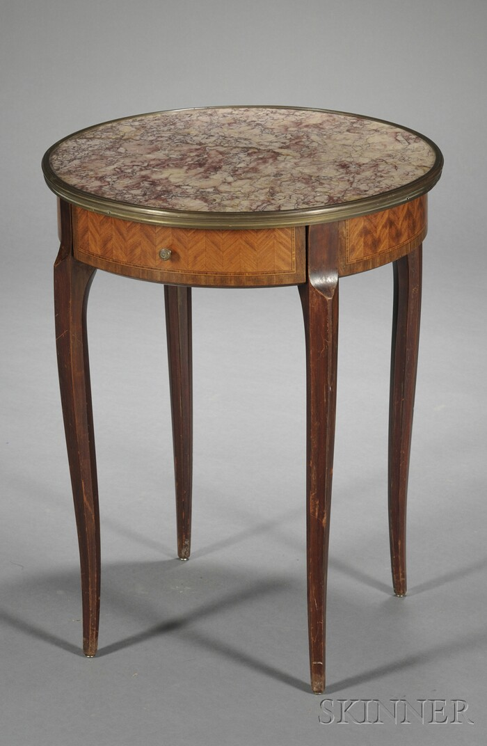 Louis XVI-style Marble-top Single-drawer Side Table