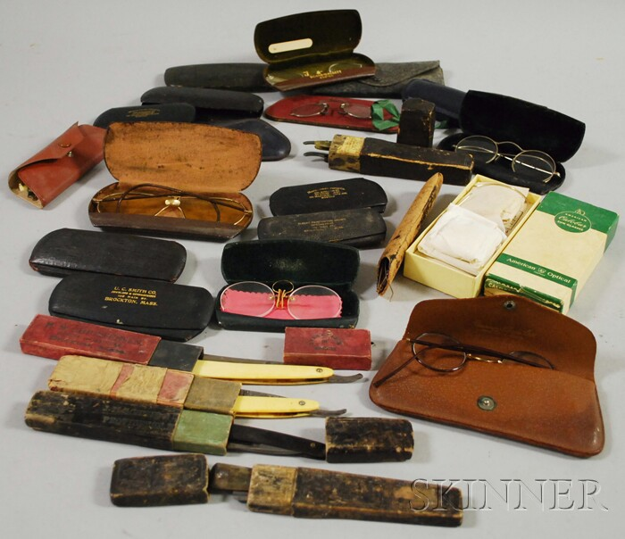 Fifteen Pairs of Eyeglasses, Spectacles, and Six Assorted Straight Razors