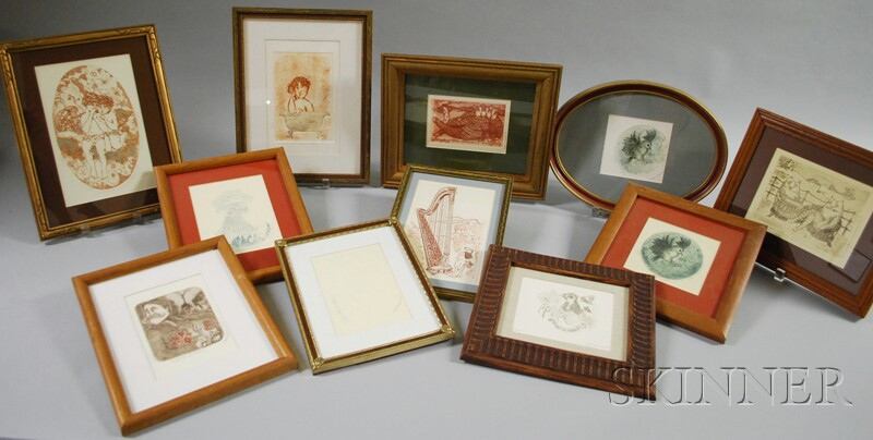 Carol Lummus (American, 20th/21st Century)      Twelve Small Framed Etchings and Embossed Works on Paper: