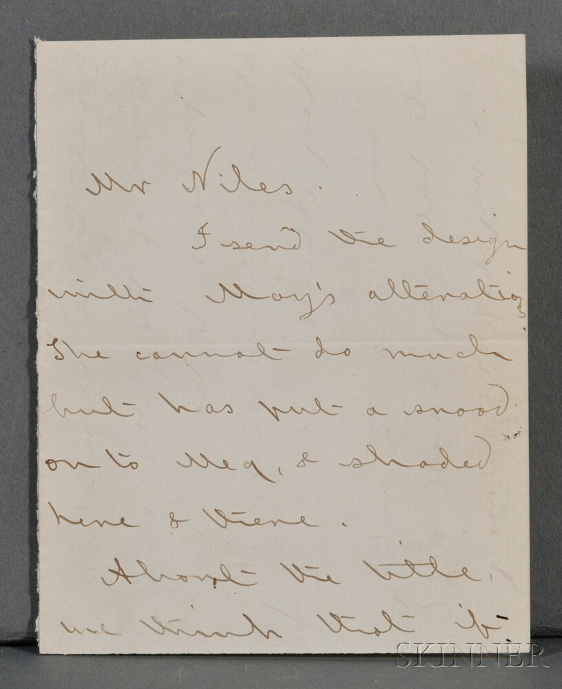 Alcott, Louisa May (1832-1888) Autograph Letter Signed, [c. 1868].
