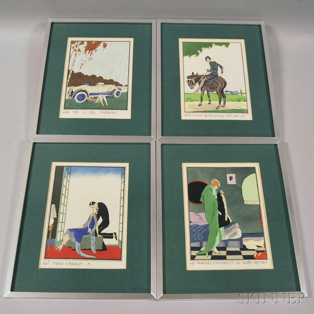 Ettore Tito (Italian, 1859-1941) Four Framed Hand-colored Prints: Aide toi, le ciel taidera, On a souvent besoin dun plus petit que s