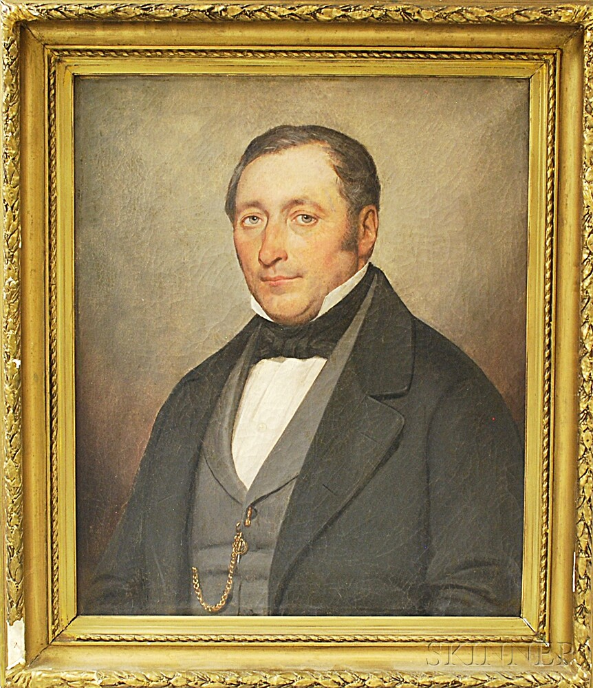 American School, 19th Century       Portrait of a Man with a Watch Chain.