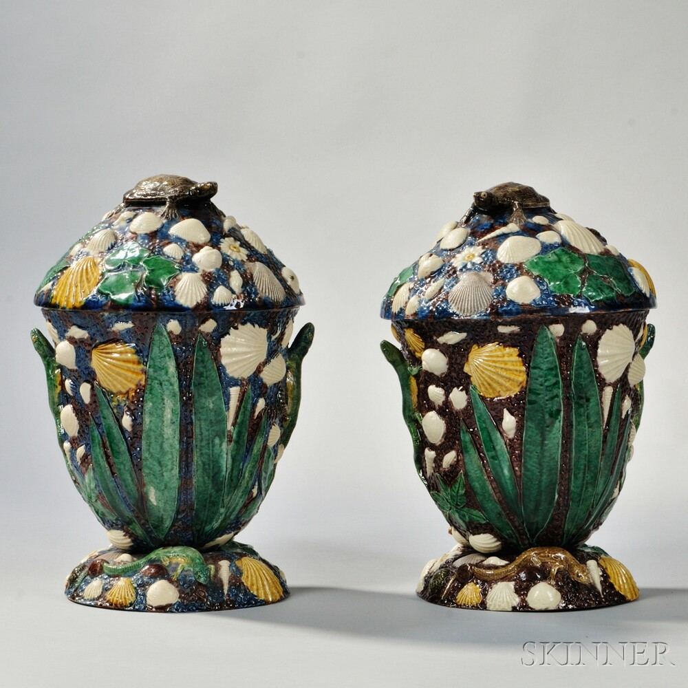 Pair of George Pull Palissy Ware Jars and Cover