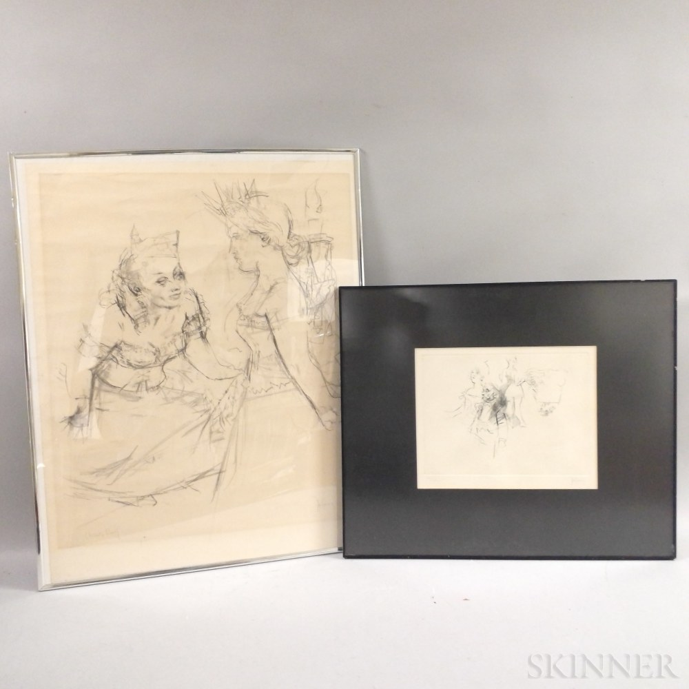 Jack Levine (American, 1915-2010)      Two Prints: Unidentified Work