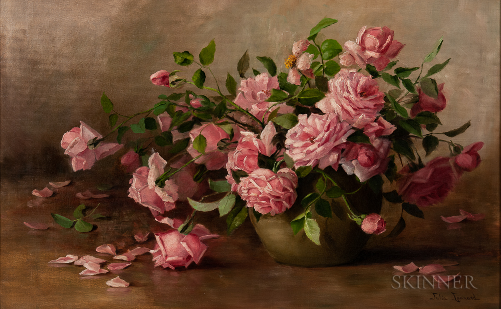 Julia Ives Leonard (American, 1845-1933)    Still Life with Roses