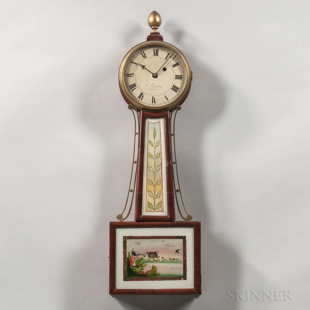 """E. Currier Patent Timepiece or """"Banjo"""" Clock"""